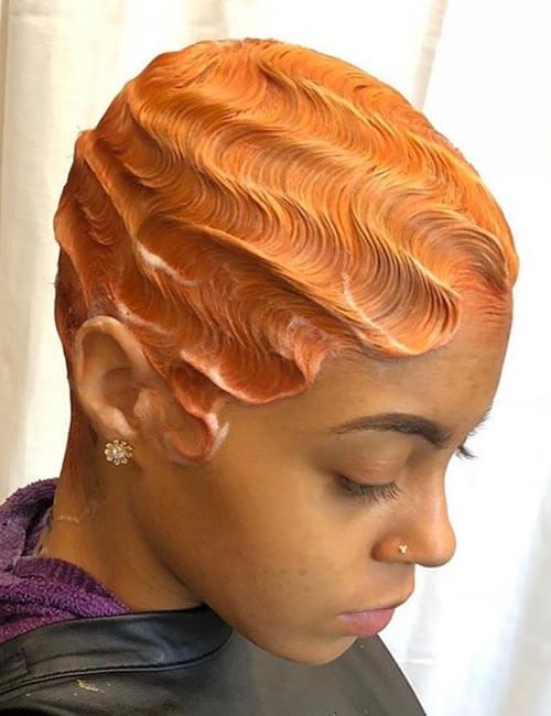 orange finger wave wig