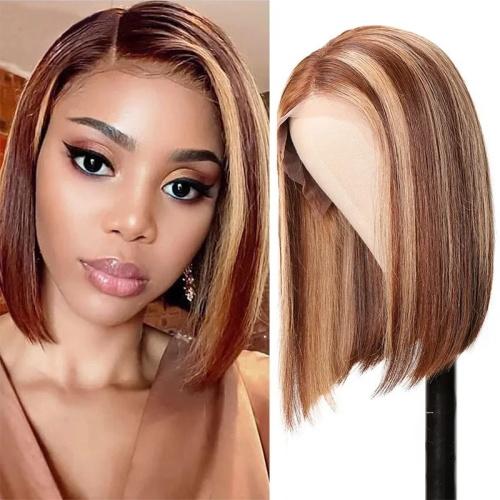 blonde highlight brown wig