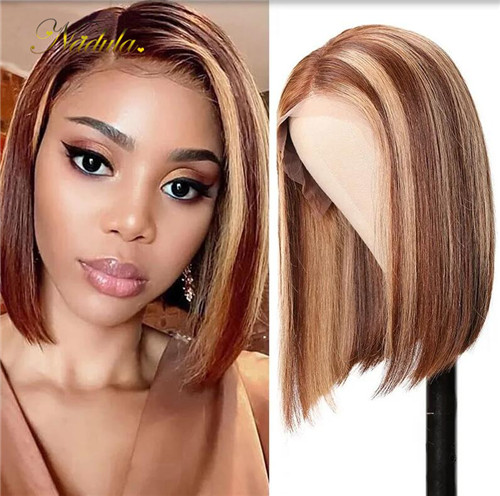 blonde highlight wig bob style