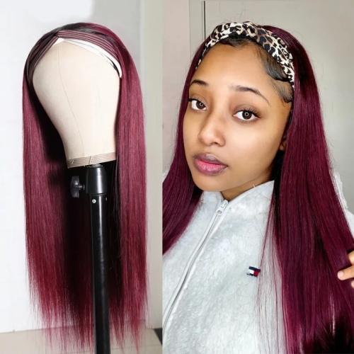 burgundy headband wig