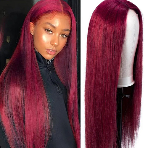burgundy lace closure wig