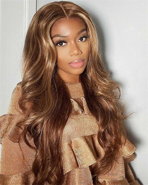 chocolate brown with Blonde Highlight