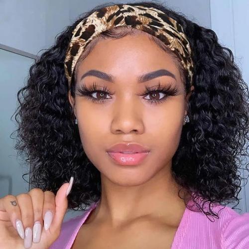 curly bob head band wig