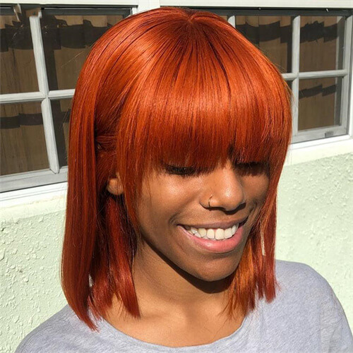 orange bob wig with straight bangs