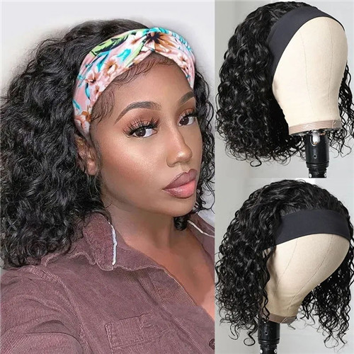 water wave short headband wigs