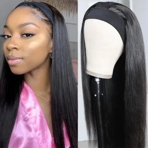straight hair wigs with headband